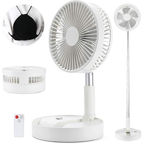 BESTBOMG Tisch-und Standventilator,Ventilator leise Standventilator mit 4 Geschwindigkeitsstufen, Ø 19,7 cm, 7200mAh Akku, Höhenverstellbarer und zusammenklappbar