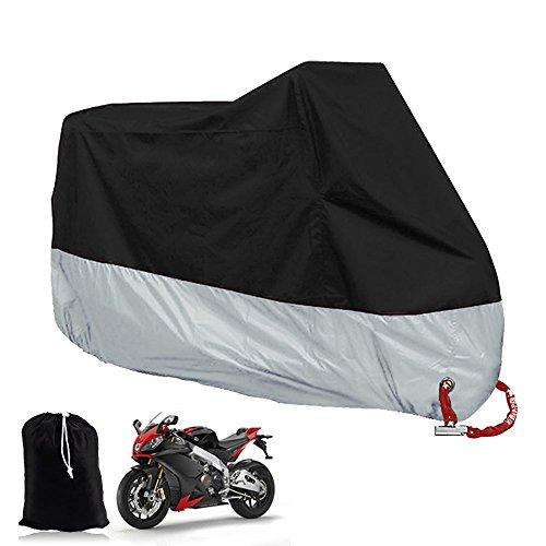 Big Ant Waterproof Motorcycle Cover-Breathable Sun Snow Motorcycle Cover Custom Fit Motorcycle Up to 108 Inches-Black & Sliver (Custom Motorcycle Cover)