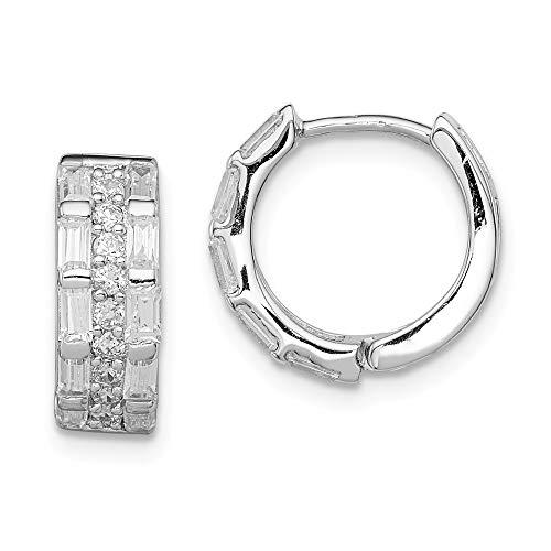 Mia Diamonds 925 Sterling Silver Solid Cubic Zirconia 3 Row Channel Baguette Hinged Hoop Earrings (12mm x 14mm)