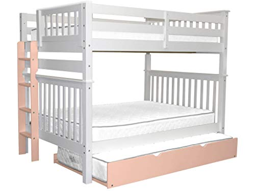 Bedz King Bunk Beds Full over Full Mission Style with a Pink End Ladder and a Twin Pink Trundle, White