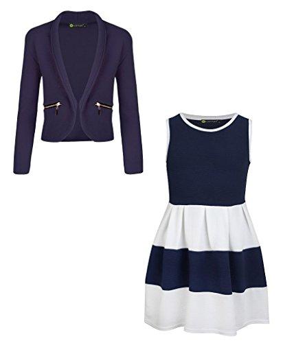 LOTMART Girls Sleeveless Skater Dress Bundle with 2 Girls Blazer Jackets