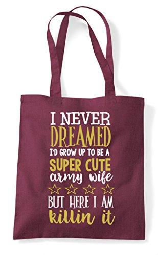 Tote Shopper Wife Army Cute Burgundy Bag Super qWvtRnff
