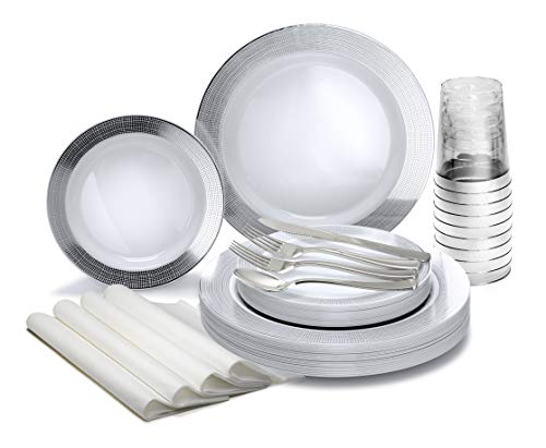 """"""" OCCASIONS"""" 200pcs set (25 Guests)-Heavyweight Wedding Party Disposable Plastic Plate Set -25×10.5"""" +25 x7.5"""" + Silverware +Cups+linen like paper Napkins (Linen White & Silver)"""