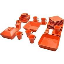 10 Strawberry Street Nova Square Banquet 45-piece Dinnerware Set (Orange)