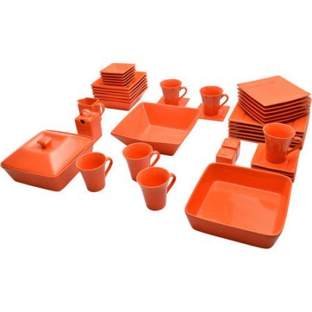 10 Strawberry Street Nova Square Banquet 45-piece Dinnerware Set (Orange)