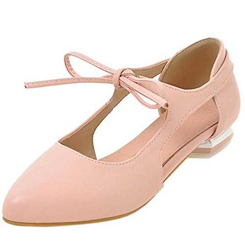 COOLCEPT Women Fashion Lace Up Sandals Flat Low Heel Closed Toe Shoes Size Pink LhLvV3c