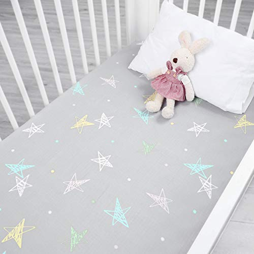 Summer New - Designthology (U.S.) Printed 100% Cotton Muslin Fitted Crib Sheet for Standard Crib and Toddler Mattresses for Boys and Girls, Gray Stars