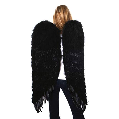 Adult Black Angel Wings Costume - Adult Costume Cosplay Costume Wings Large Feather Wings XL Adult Feather Wings Black Dark Angel Wings Large]()