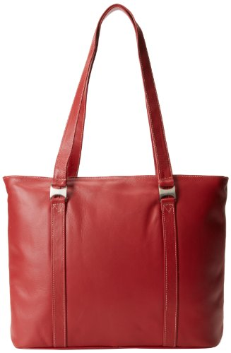 Piel Leather Computer Tote Bag, Red, One Size by Piel Leather