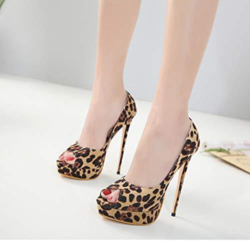 Alto Sexy Sandali Tacco Casual Marrone Aperta Alti Tacchi Spillo Estate Eleganti Stampa scarpa Donna Scarpe Leopardo A Meibax xqnIHgwg
