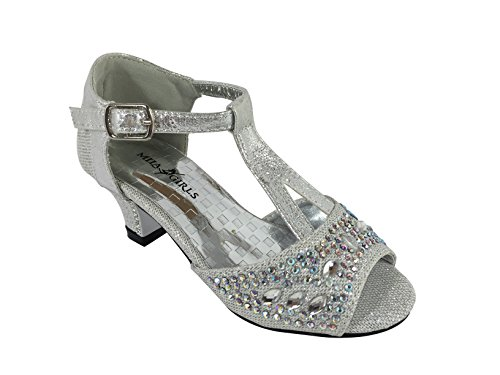 JF16-4 Little Girl Rhinestone Sparkle Low Rhinestone Heel T Strap Open Toe Sandal Shoes (1, Silver)