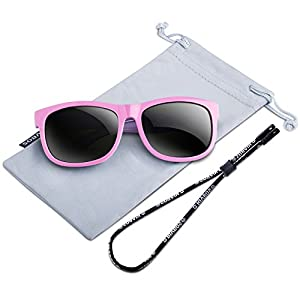 RIVBOS Rubber Kids Polarized Sunglasses With Strap Glasses for Boys Girls Baby and Children Age 3-10 RBK023 (Pink)