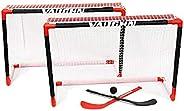 V76 by Vaughn Deluxe Top Shelf Mini Hockey Net, Stick, and Ball Set, Mini Hockey Net Set for Kids, Black