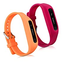 kwmobile 2in1 set: 2x Sport spare bracelet for Fitbit One in red orange Inner dimensions: approx. 14 - 20 cm - silicone bacelet with clock clasp without tracker