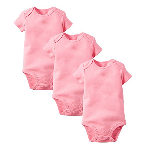 Enfants Cheris Unisex Baby 3 Pack Short Sleeve Onesies, (Pink, 3M) Light Pink Onesies
