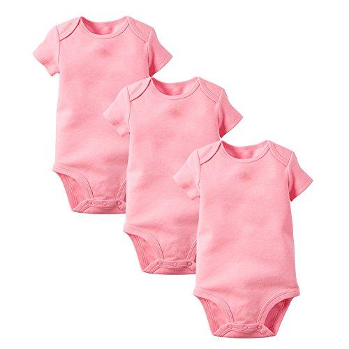 (Enfants Chéris 3 Pack Baby Girls Bodysuit Cotton Short Sleeve Onesies, (Pink, 6M))