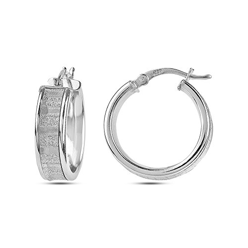 LeCalla Sterling Silver Jewelry Round Shape Rhodium Plated Glitter Hoop Earrings for -