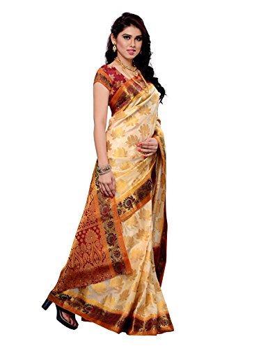 Mimosa Women Kanchipuram Artificial silk Saree With Contrast Blouse.