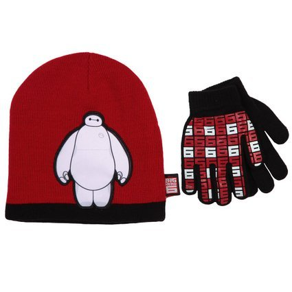 Disney Big Hero 6 Baymax Hat and Mitten Set (Red)