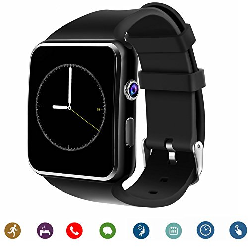 TagoBee TB01 Bluetooth Smart Watch with Sim Card Camera 2018 Upgrade HD Screentouch suport Facebook Whatsapp Functions Compatiable with All Android Smartphones and iPhone (Partial Function) (Black)