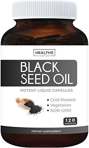 Black Seed Oil - 120 Softgel Capsules (Non-GMO & Vegetarian) Premium Cold-Pressed Nigella Sativa Producing Pure Black Cumin Seed Oil with Vitamin E - 500mg Each