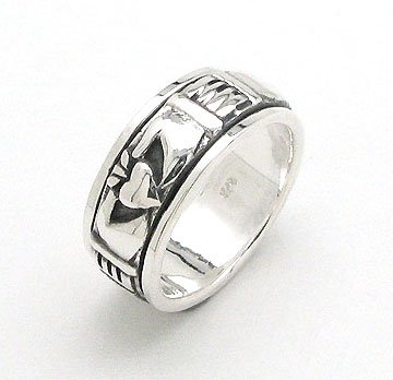 Unusual Sterling Silver Celtic Claddagh Worry Band Spin Ring Size 9(Sizes -