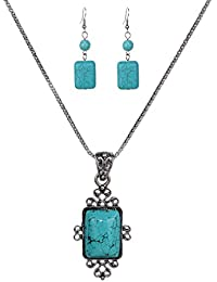 Vintage Tibetan Silver Elegant Carved Rectangle Turquoise Pendant Necklace Earrings Jewelry Set