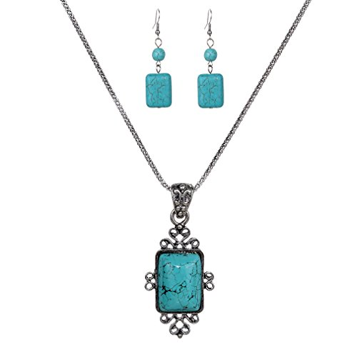YAZILIND Vintage Tibetan Silver Elegant Carved Rectangle Turquoise Pendant Necklace Earrings Jewelry Set Rectangle Turquoise Pendant
