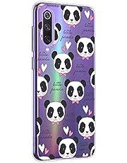 Suhctup Funda Compatible para Xiaomi Mi CC9 Pro,Carcasa Transparente Dibujos Animal Suave Silicona TPU Gel Bumper Ultra Pulgada Antigolpes Crystal Clear Protector Piel Case Cover,Panda 9