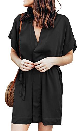 e0f35823300 BTFBM Women V Neck Button Down Short Sleeves Floral Print Casual Summer  Dress with Belt