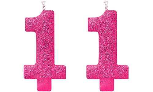 Giant Pink Glitter 1 Candle - First Birthday Cake Topper