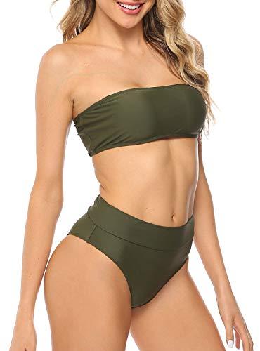 TRENDUOX Bathing Suit for Women, Two Pieces Bikini Set High Waist Swimsuit - Sexy Cheeky Bandeau Swimwear - Removable Strap Padded Beachwear - Fully-Lined - Free Waterproof Phone Case Gift - Green XL