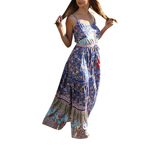 Women Boho Dress Casual Floral Tropical Maxi Dresses Vintage Loose Empire Waist Spaghetti Strap Chiffon Beach Long Dress Blue ()