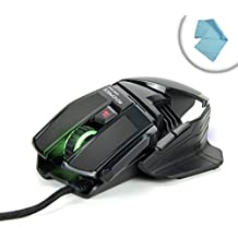PrecisionPRO Optical 6-Button LED Gaming Mouse with Adjustable 2000 DPI , Ergonomic Minimalist Design , and Green & Blue LED Accents - Works for DOTA 2 , Counter-Strike: Global Offensive , Team Fortress 2 , Football Manager 2015 , Garry's Mod and Many More! *Includes Bonus Accessory Bag