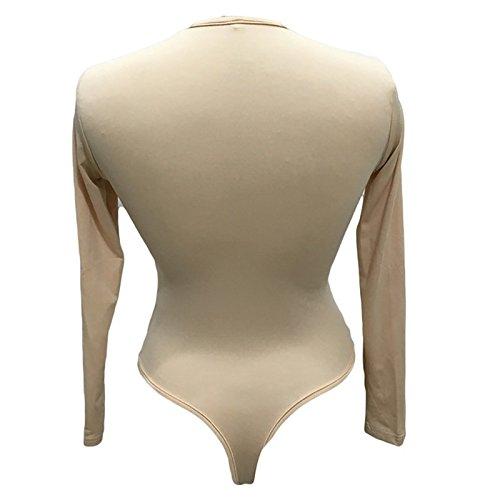 LiChY Autumn Sexy Women Long Sleeve Shirt Jumpsuit Bodysuit Stretch Leotard Top Blouse T Shirt Burgundy M