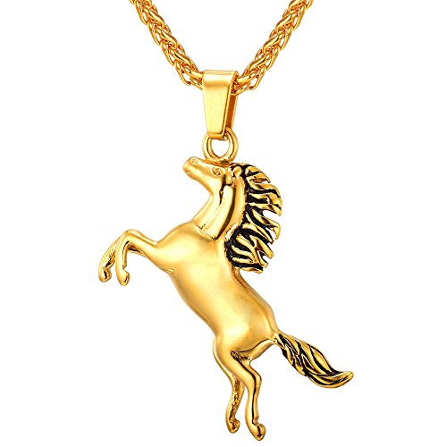 U7 My Little Pony Pendant 18K Gold Plated Horse Necklace