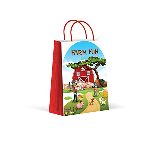 Premium Farm Party Bags, Animal Party Favor Bags, New, Treat Bags, Gift Bags, Goody Bags, Party Favors, Party Supplies, Decorations, 12 Pack ()