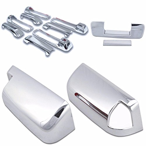 Cobra-Tek 2009-2016 Dodge Ram Chrome Door Handle Cover 4D (With Passenger Keyhole) & Tailgate Handle Cover (No Keyhole) & Towing Mirror Cover (With Signal Light Cut Out) Combo ()