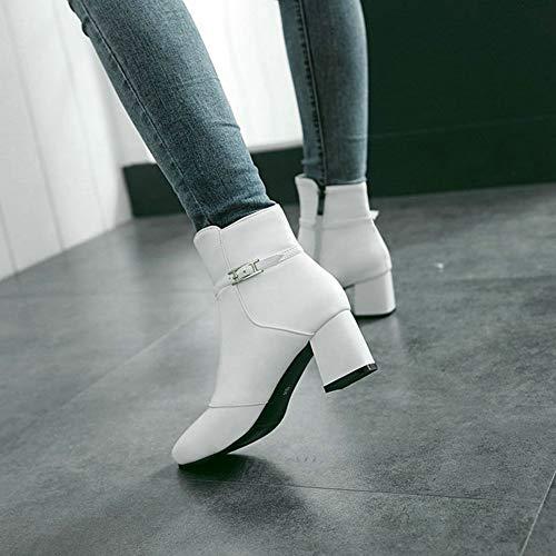 Tacco Zip Stivaletti Scarpe Stivali Donna Caviglia Appuntito Casual White Basso Robusto Twgdh Party Fibbia Sera Inverno UYwR55