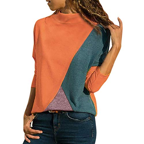 Fashion Women Splicing Color Patchwork Long Sleeve Turtleneck Casual Shirt Easy Blouse Tops Pullover ODGear