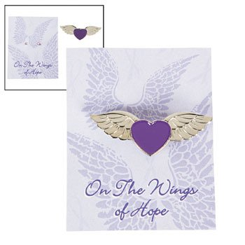 Purple Awareness Angel Wings Pins on Cards -