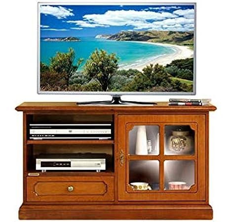 Mueble de tv pequeño en madera con puerta de vidrio, mueble de ...