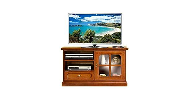 Mueble de tv pequeño en madera con puerta de vidrio, mueble ...