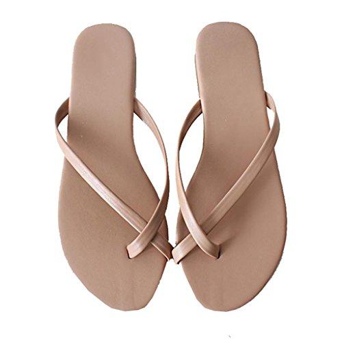 Sandalias Slip-on De Chanclas para Mujer Zapatillas Deportivas Sandalias De Dedo con Tacón Plano Sandalias En Verano para Zapatos De Playa PU Oxford (Color : Albaricoque, Tamaño : EU 39/US 7.5) Albaricoque