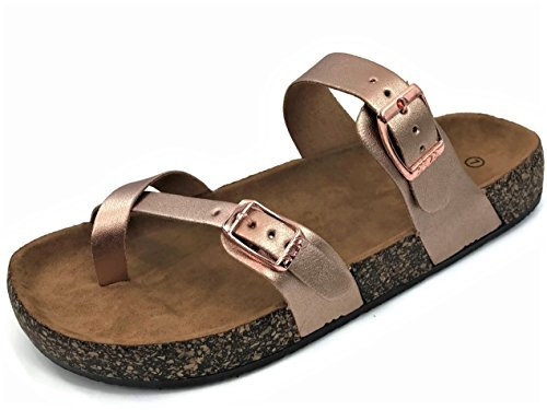 Womens Slip On Cross Toe Thong Cork Sole Slide Sandal with Buckle, Rosegold, (Cork Strappy Sandals)