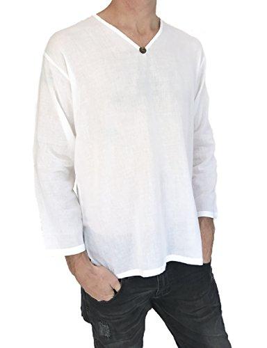 Men's T-Shirt 100% Cotton Hippie Shirt Beach Yoga Top Feature Button (Large, White) by Love Quality (Image #2)