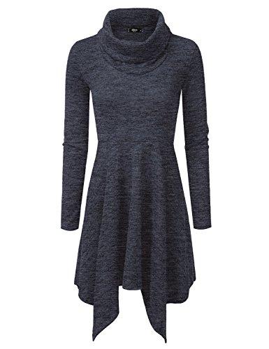 cowl neck belt sweater dress - 6