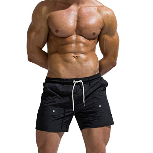 Sunyastor Men's Shorts for Summer Elastic Waistband Beam Line Belt Thin and Light Quick Dry Beach Pants Surfing Pants Black