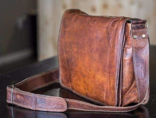10X13 INCH BAG SKH Leather Full Flap Messenger Handmade Bag Laptop Bag Satchel Bag Padded Messenger Bag School Brown