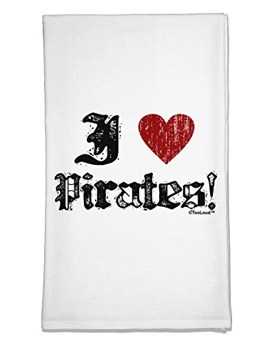[TooLoud I Heart Pirates Flour Sack Dish Towel] (Somali Pirate Costume)
